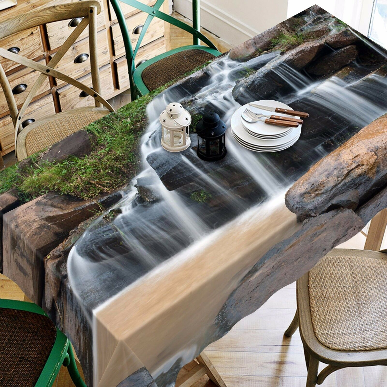 3D Stone fall8 Tablecloth Table Cover Cloth Birthday Party Event AJ WALLPAPER AU