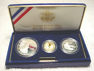 Proof Silver Dollar /& Half Dollar w// Box /& COA 1993 P BU Bill of Rights Commem