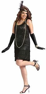 48952430cc7 Womens Flapper Costume Black 1920s Roaring 20s Fancy Dress XL 16-22 ...