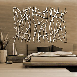 Abstract stainless steel wall sculpture art metal decor for Stainless steel wall art