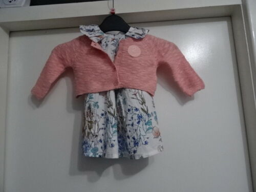 RRP-£23 Beautiful Next Printed Prom Dress And Cardi Set 3-6mths /& 12-18mth