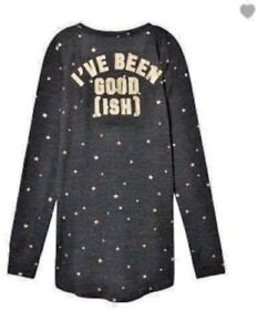dc8e2c57798ea Details about VICTORIA'S SECRET PINK COZY SLEEP SHIRT DRESS PAJAMA GRAY  GOLD STAR THERMAL S