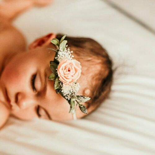 Flowers Newborn Baby Girl Headband Elastic Nylon Turban Hairband Photography