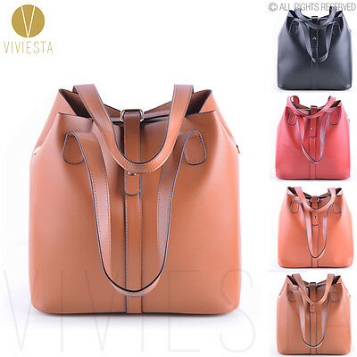 Women's 3-Way Vintage Top Quality PU Leather Extra Large Bucket Tote Bag Handbag