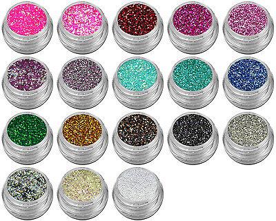 18x Mini Pailetten Hexagon Glitter Flimmer Puder Staub Alle Farben  #00130-Set