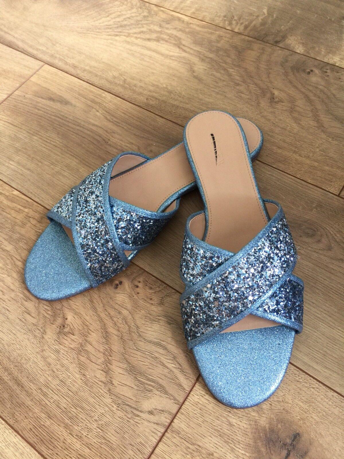 NEU Jcrew Glitter Cora crisscross Sandale Ocean Glitter Blau 9.5 H7334