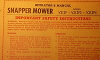 Snapper Lawn Mower V212p V212ps V212p4 Owner, Service, Parts Manual 8pg 1976