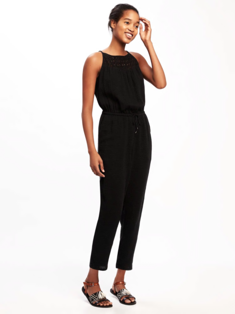 da1f40ccf894 Old Navy Women s Black High Neck Crochet Yoke Jumpsuit Size Medium ...