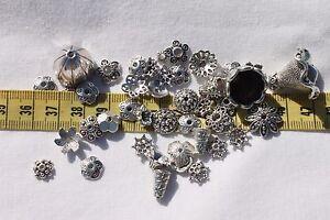 Tibetan-Style-Bead-Caps-Mixed-Shape-Antique-Silver-8-20mm-in-Diameter-1oz