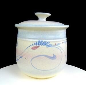 JACK-WESTLIN-SIGNED-NORTHWEST-ART-POTTERY-BLUE-FLORAL-8-1-4-034-COOKIE-CANISTER