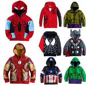 Kids-Boy-Spiderman-T-Shirt-Pullover-Hooded-Hoodie-Sweatshirt-Jacket-Coat-Sweater