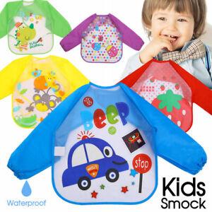 New-Long-Sleeve-Kids-Baby-Bibs-Bib-Apron-Waterproof-Art-Smock-Feeding-Toddler-AU
