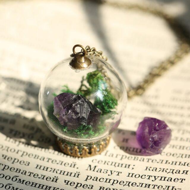 Amethyst Terrarium Wish Necklace Raw Crystal Gemstone Real Flower Glass Pendant