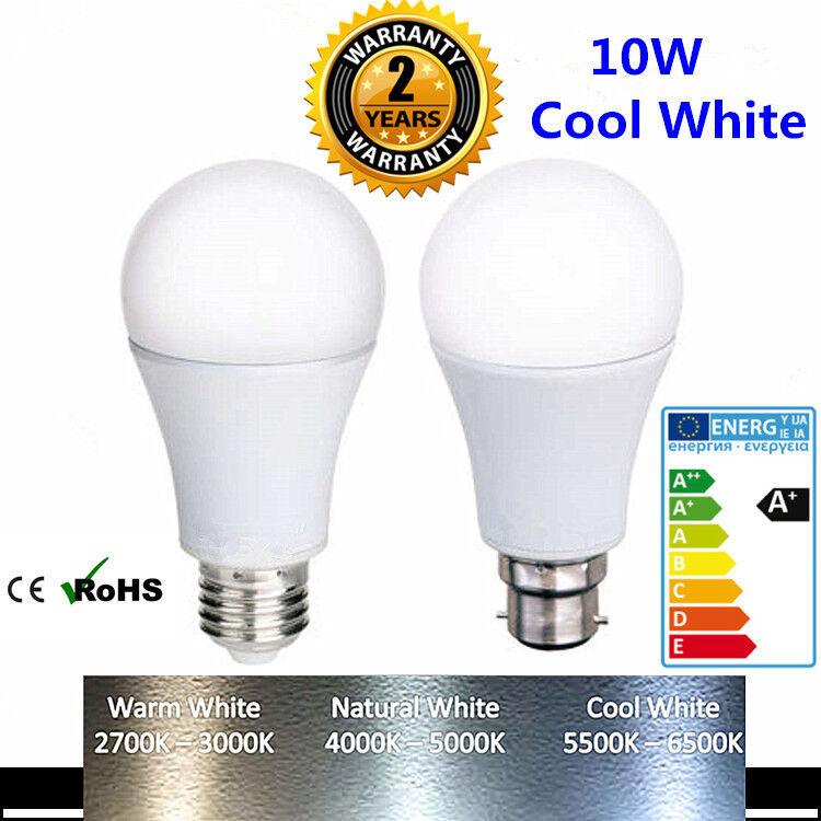 X2 x4 x6 x10 Pcs Bright 10W LED Bulb Light A60 Lamp Cool Day White B22 BC E27 ES