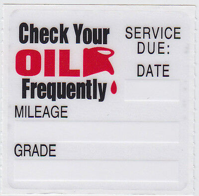 50 STATIC CLING OIL CHANGE REMINDER STICKERS DECALS * FREE SHIPPING