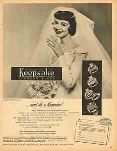 1954 Vintage Ad Keepsake Diamond Rings Engagement Wedding Rings 100313 Ebay
