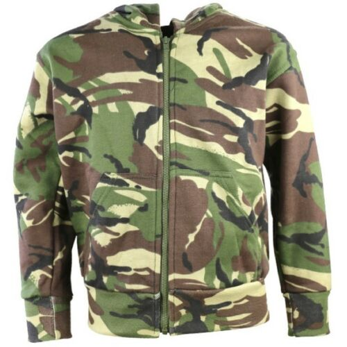 BOYS ARMY CAMOUFLAGE ZIP HOODIE JACKET KIDS AGE 3-13 YRS FLEECE LINED  DPM CAMO
