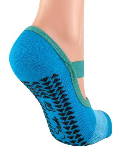 2 Pairs Womens No Show Non Slip Grip Pilates Yoga Socks with Straps