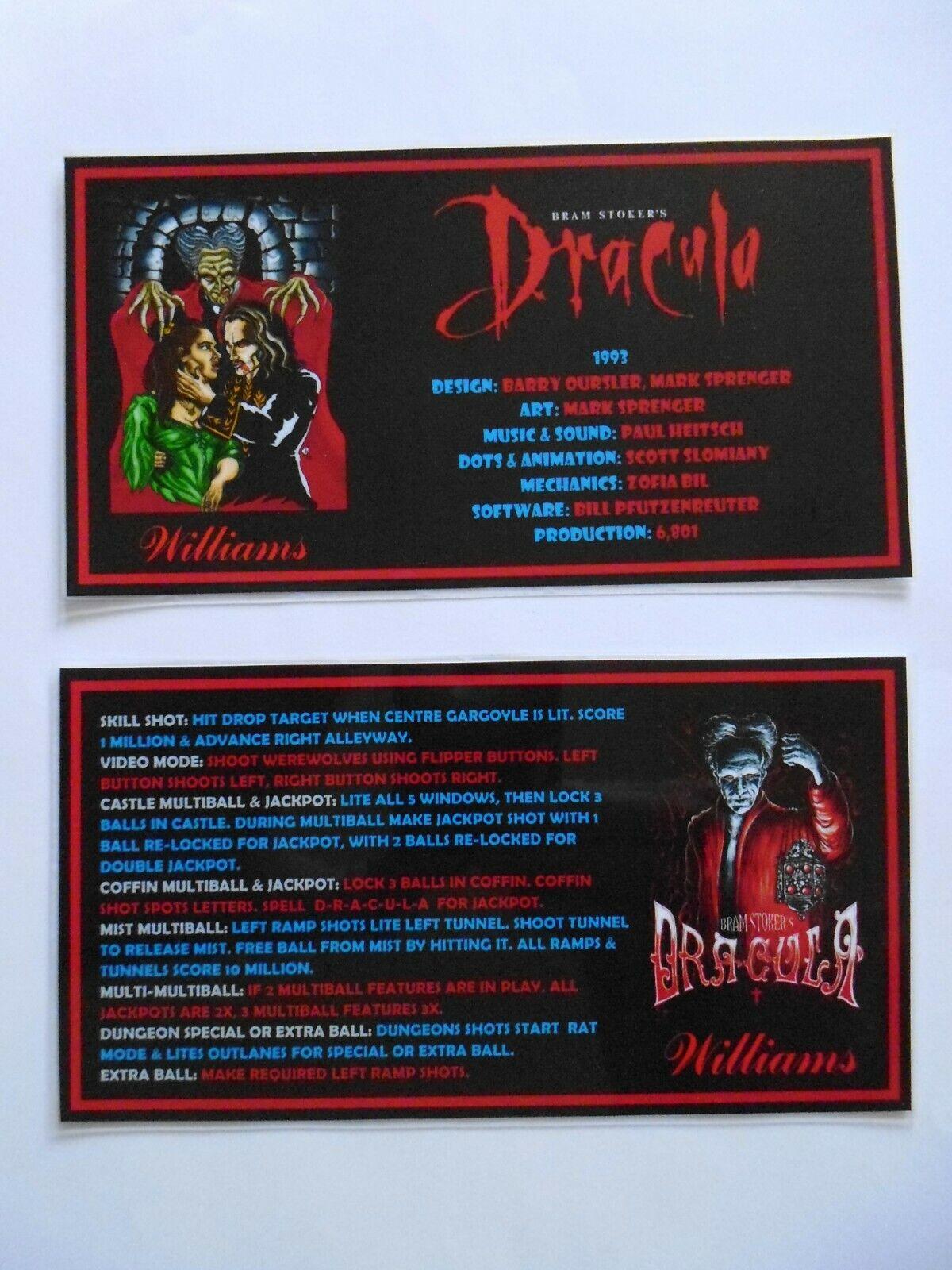 * 'BRAM STOKERS DRACULA' Williams 1993 Custom Instruction/Apron Cards * (New)