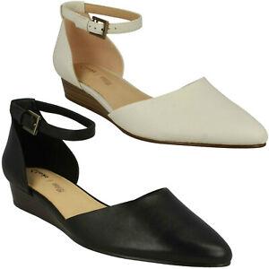 Detalles de Clarks Mujer Sense Eva Hebilla Tacón bajo Zapatos Elegantes para Comodidad Cuña