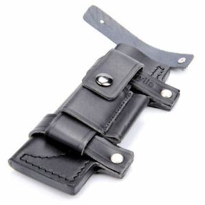 Black-Straight-Leather-Belt-Sheath-For-7-034-Fixed-Knife-w-Pouch-Bag-Knives-Sheath