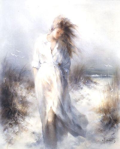 Dreamy Keilrahmen-Bild Leinwand Mädchen Strand Romantik Willem Haenraets