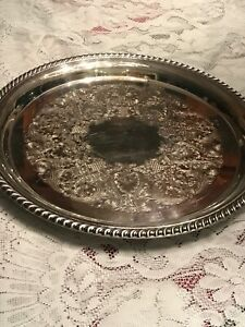 Wm-ROGERS-Silver-871-Round-Tray-Silver-plate-Platter-Tray-12-1-4-Round-Vtg