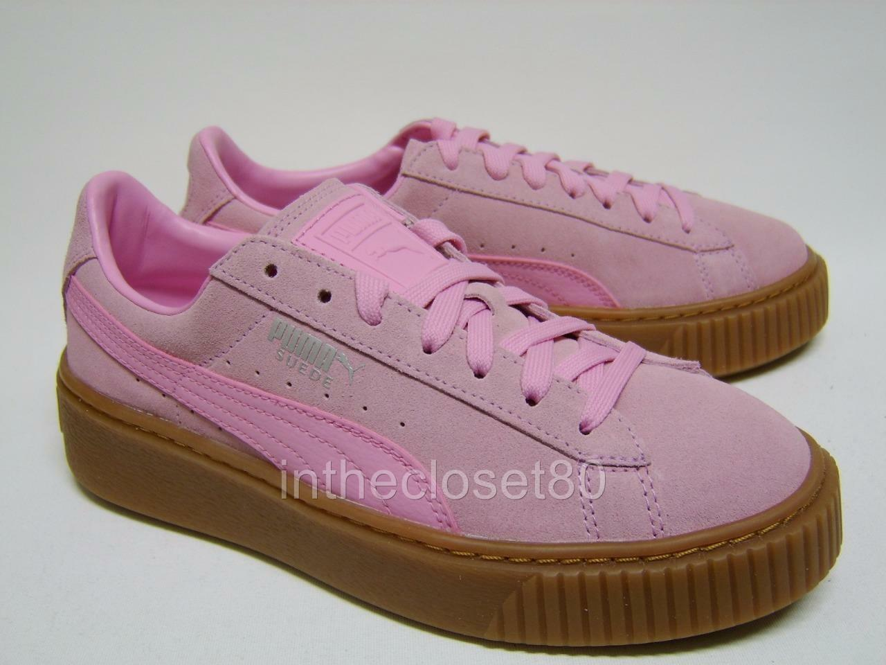 Puma Basket Suede Platform Creepers Prism Pink Juniors Girls Damenschuhe Trainers