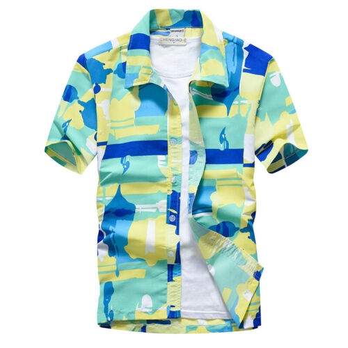 PLUS Mens Hawaiian Shirts Tropical Tree Beach Party Button Up Summer Dress Shirt