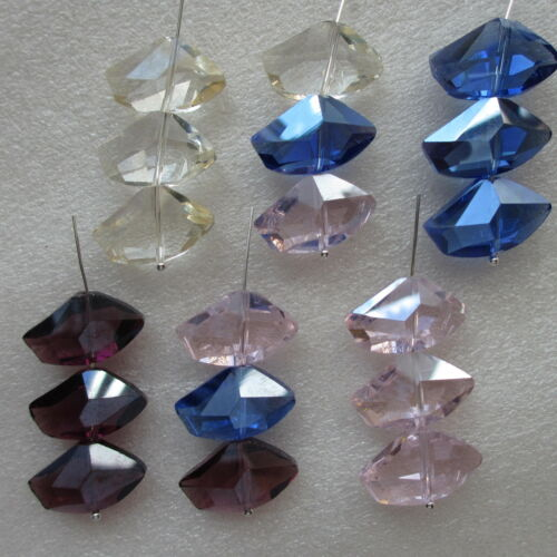 20 x Faceted Crystal Glass Nugget Beads 13mm x 22mm Choice of 5 Colours