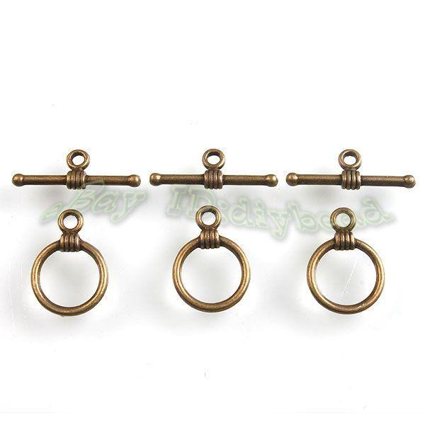 70Sets Antique Bronze Tone Round Toggle Clasps Jewelry Necklace Bracelets Making