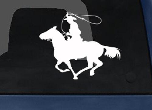 Cowboy on Horseback Lasso v.1 Car Tablet Vinyl Decal Wild West Rodeo