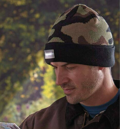 LED Lighted Knit Hunting Cap Hat Beanie Hands Free Mens One Size Camo  NWT