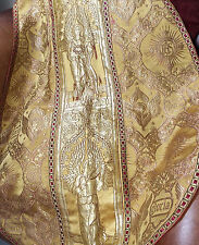 MAGNIFICO! 19th C Gold Thread ANGELS GLORIA Chasuble Vestment Embroidered Church