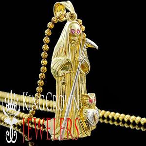 Mens 10k solid yellow gold grim reaper pendant angel of death santa image is loading mens 10k solid yellow gold grim reaper pendant mozeypictures Images