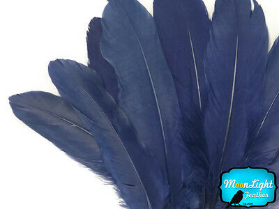 1/4 lb - Navy Blue Goose Satinettes Wholesale Loose Wing Feathers Craft Quill