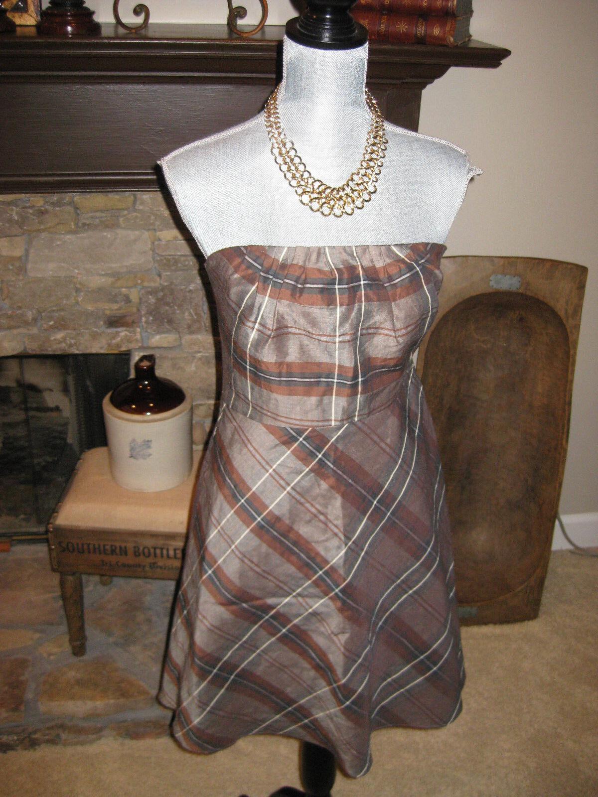 NWOT Banana Republic Strapless Brown Plaid Linen Blend Classic Dress Sz 4 Petite