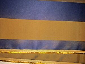 Navy-Blue-amp-Rich-Brown-Stripped-Upholstery-Fabric-54-034-Wide-x-1-5-Yards