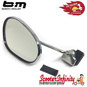 80mm Left Round Legshield Clamp On Mirror Chrome Vespa Lambretta LML PX GP LI SX