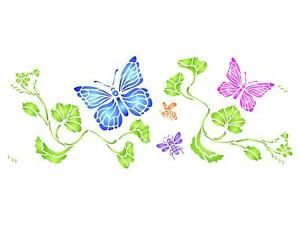 Butterflies And Bees Border Stencil 16 5 X 6 5 Reusable Wall