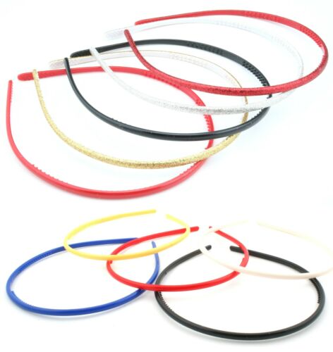 Zest Set of 5 5mm Wide Skinny Alice Bands Hair Accessories
