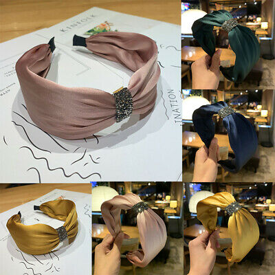 Rhinestone Velvet Solid Knotted Hairbands Bezel Turban Women Headbands Girls