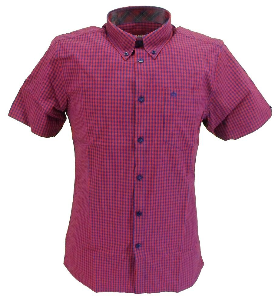 Merc Terry Red Navy Gingham Cotton Short Sleeved Retro Mod Button Down Shirts …
