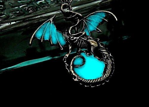 Collier Femme,Homme,Pendentif Dragon Fluorescent,Game of Thrones,Acier,Cuir Noir