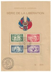 Luxembourg-stamps-1945-Freedom-souvenir-sheet-cancelled-LIBERATION-fresh