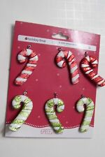 6 MINI RED WHITE GREEN GLITTER CANDY CANE CHRISTMAS ORNAMENT DECORATION