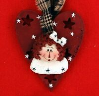 Raggedy Ann Burgundy Heart Ornament Resin Collectible Decor Adorable Andy