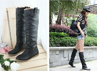Fashion Women's Knee-High Flat Heel Boots Round Toe Shoes US 5-10