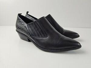 Wittner-Black-Leather-Studded-039-RIZZA-039-Low-Block-Heel-Shoe-Women-039-s-Size-9-5-Point