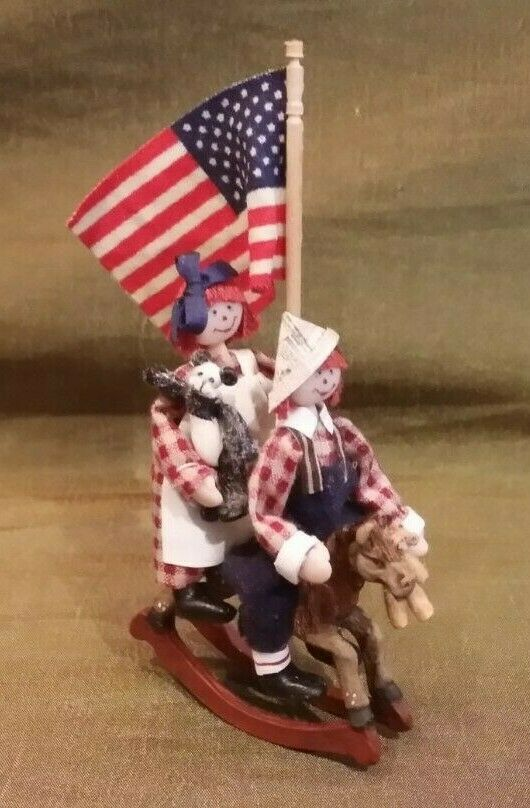 Dollhouse Miniature Maureen Thomas Raggedy Ann & Andy Rocking Horse